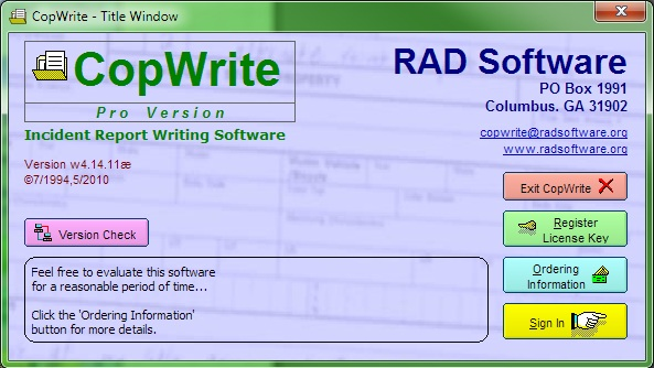 Screenshot of CopWrite